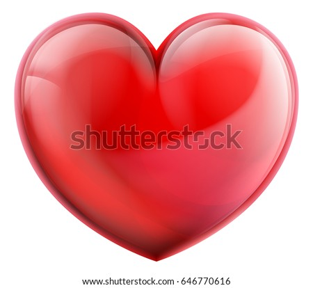a shiny red love heart 3d icon