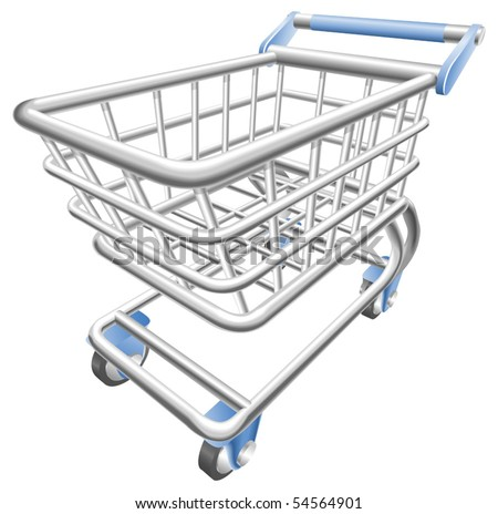 A shiny shopping cart trolley vector illustration with dynamic perspective. Can be used as an icon or illustration in its own right.