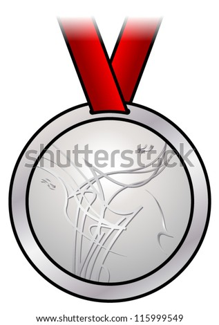 A shiny silver medal with a modern abstract design and a red satin ribbon. Shown front-on.