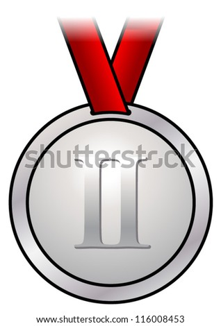 A shiny silver medal with a simple design and a red satin ribbon. Shown front-on. - stock vector