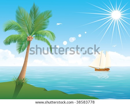 A ship at the sea in the background. Palm tree in the foreground. The sun is shining in the sky.