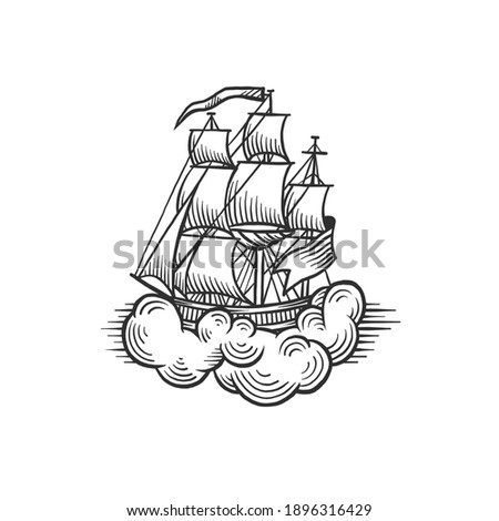 A ship. Can be used as a sketch of a tattoo.