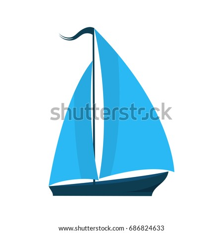 A ship with sails. Logo for water sports, tourist firm, for pleasure boats. Summer holiday concept