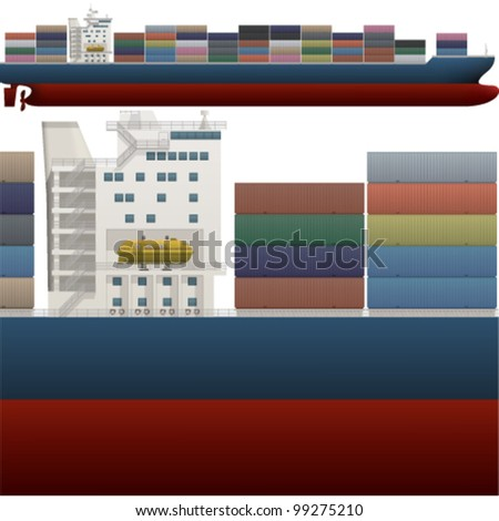 A side high detailed view of a large Container ship saved as an EPS version 10.