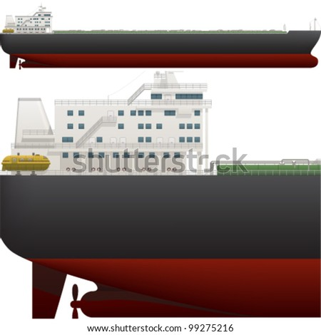 A side high detailed view of a large Oil Tanker saved as an EPS version 10.