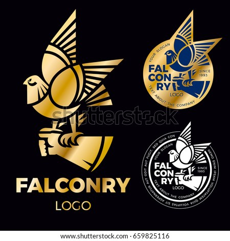 Shutterstock A sign of falconry is the falcon, sitting on a gloved hand. Creative logo for the corporate identity of the company. Gold falcon label.