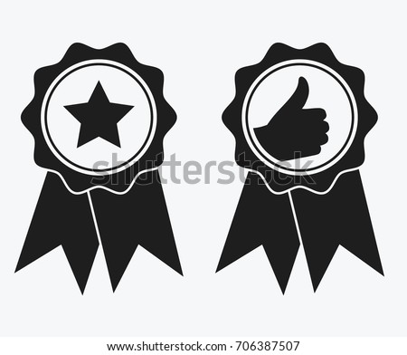 A sign of premium class. Medal with a star and ribbon. Mark of distinction. Black and white quality symbol. Vector illustration of medal icons. Reward for the first place.