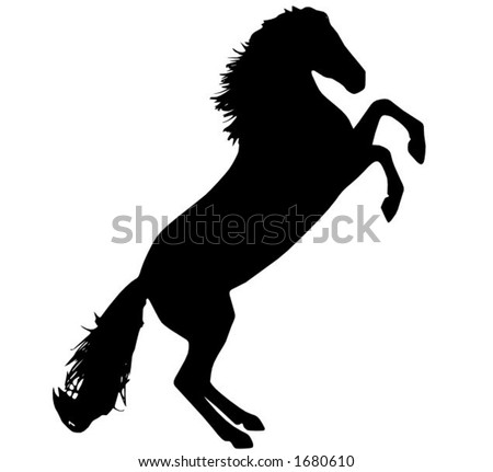 a silhouet of a rearing horse