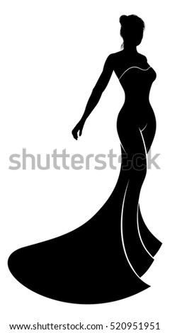a silhouette bride in her