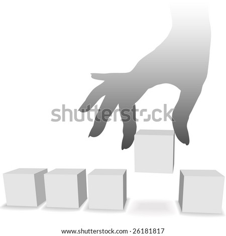 A silhouette female hand picks up a box or cube from a row of boxes as copyspace.