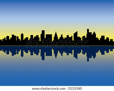 A silhouette illustration of a generic city skyline at sunrise, reflected in water.
