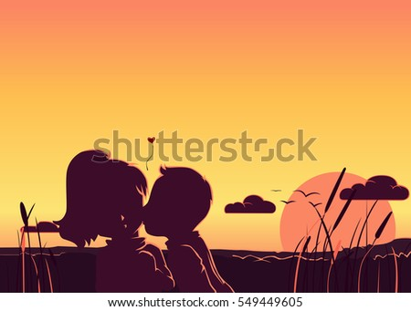 a silhouette of a boy kissing a