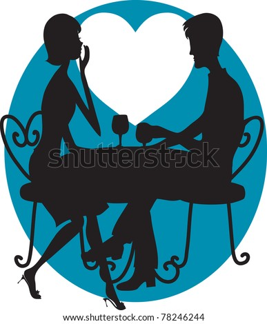 A silhouette of a couple having wine. A big white moon shaped like a heart is in the background
