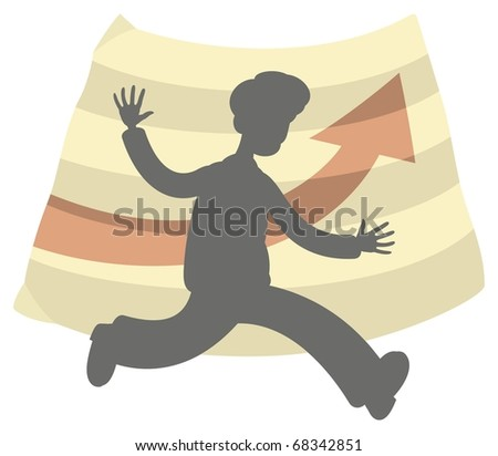 A silhouette of a happy businessman running fast. His hands are lifted from excitement. Positive progress chart in the Background