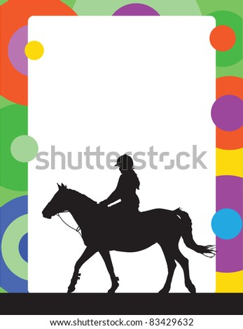 A silhouette of a horse and rider is part of this colorful frame or border