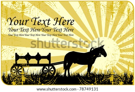 A silhouette of a horse and wagon standing in a meadow on a background of rising sun