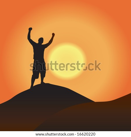 A silhouette of a man atop a mountain with his arms raised up in the air.