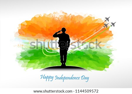 A silhouette of a patriotic soldier