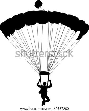 a silhouette of a skydiver