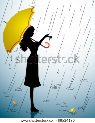 A Silhouette of a young girl with a yellow umbrella