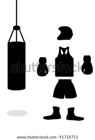 A silhouette of boxing accessories in the vector
