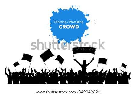 A silhouette of cheering or protesting crowd with flags and banners
