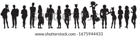 A silhouette of teenage girls and boys with books and backpacks. Black and white vector illustration