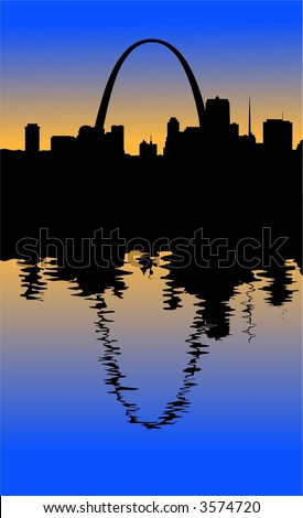 A silhouette of the St. Louis Missouri skyline looking West during at sunset. The famous Saint Louis Arch can be seen. Its reflection shows in the water of the mighty Mississippi.