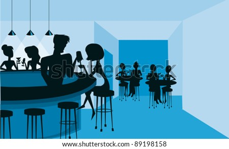 A silhouetted club or bar scene in blue and black.