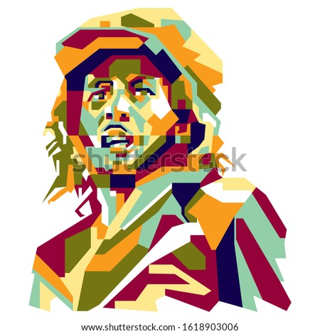 A simple abstract Potrait Illustration of jamaican people : bob marley, with colorful geometric style. vector eps10.editable. Stockfoto ©