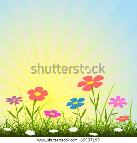 A Simple Background with Flowers and Sunbeams