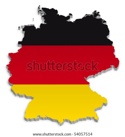 A simple 3D vector map of Germany. - stock vector