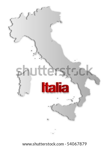 A simple 3D vector map of Italy.