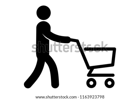 A simple icon of a man with a grocery cart. Vector illustration.