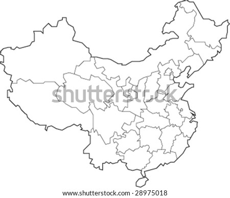 A simple map showing the outlines of provinces, municipalities, autonomous regions and special administrative regions of China