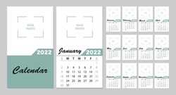 A simple monthly vertical wall layout of the photo calendar for 2022 in English. Calendar covers, templates for 12 months. The week starts on Sunday. Vector illustration