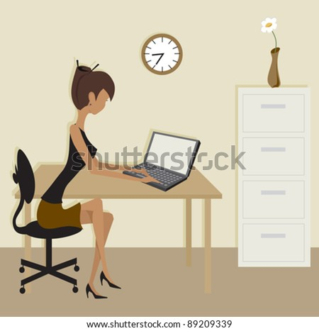 A simple office scene in brown colors.