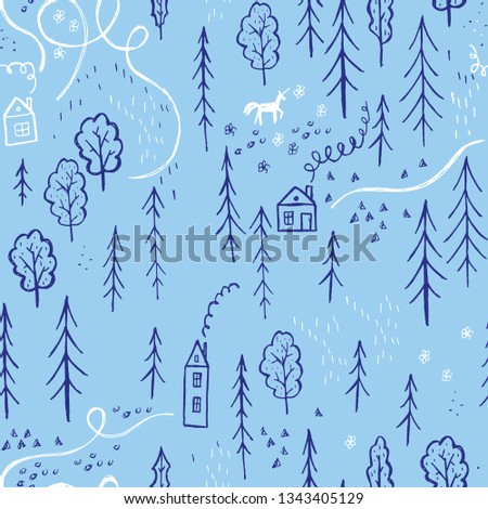 A simple pattern of a simple drawing of a forest with houses and a unicorn on a blue background.