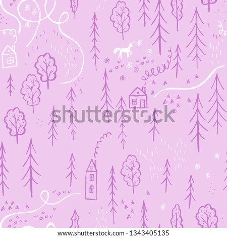 A simple pattern of a simple drawing of a forest with houses and a unicorn on a pink background.