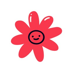 A simple red flower with a smiling face. Flat vector illustration isolated on a white background