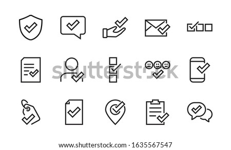 A simple set of claim related vector line icons. Contains icons such as security guarantee, received document, read message, verification, quality and much more. Editable 48x48 Pixel Perfect