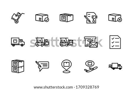 A simple set of vector linear icons associated with mail. Contains icons such as: parcel, truck, loader, letter, crates, barrel, and more. Editable Stroke. 48x48 pixels is perfect.