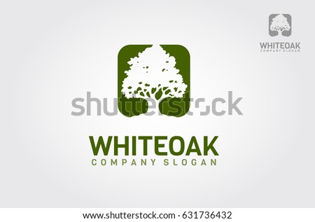 A Simple White Oak Tree Silhouette On Green Background Modern Vector Sign Premium Quality
