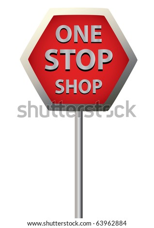 a single sign saying  one stop shop on a white background