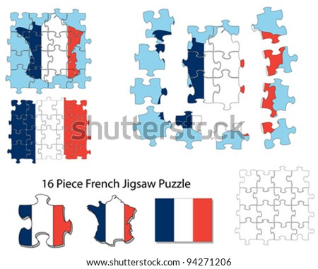 A sixteen piece jigsaw of French map and flag. Each piece can be moved using vector software.