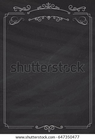 A4 size vertical Cafe menu - ornamental retro border and blackboard textured background
