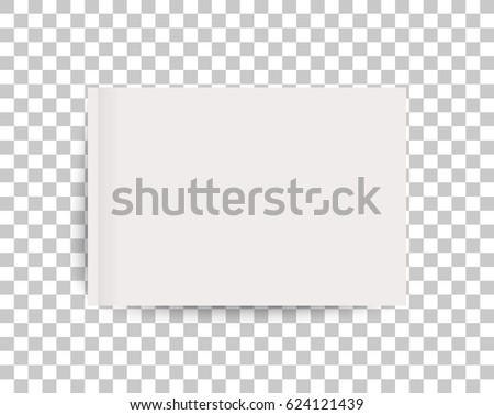 A4 sized mockup of a landscape-oriented magazine or catalogue. Blank sheet of paper. Element for advertising and promotional message. 3d vector illustration for your design.