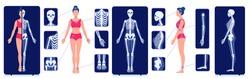 A skeletal system visual aid. X-ray examination pictures. Image of the human skeleton bones. Internal anatomy of a woman. Full-length roentgen.