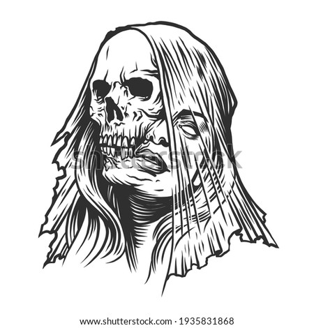 A skeleton of a woman. Can be used as a sketch of a tattoo.