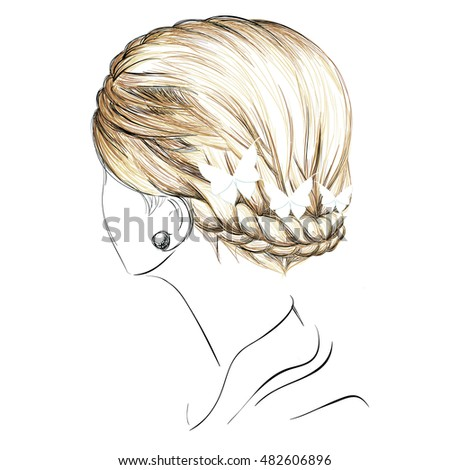 a sketch of a braid hairstyle